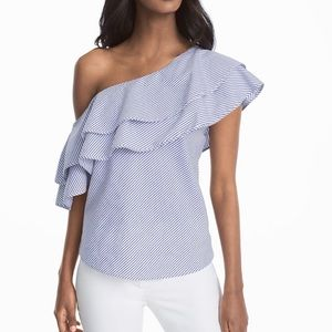 WHBM Ruffled One Shoulder Stripe Poplin Top